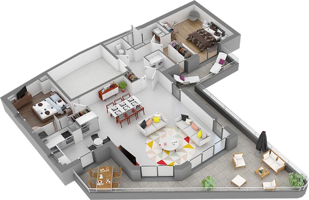 T3 Attique Villa Autissier